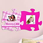 2-Piece Mommy and Baby Girl Puzzle Piece Photo Frame Set