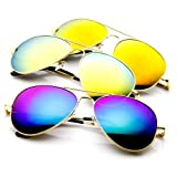 zeroUV® - Premium Full Mirrored Aviator Sunglasses w/ Flash Mirror Lens (3-Pack (GOLD SET))
