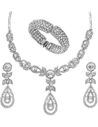 Silver Finish Necklace Set With Matching Earrings & Bangles By Xcite