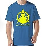 FQY Mens Anonymous Cotton Round Collar T Shirt L RoyalBlue