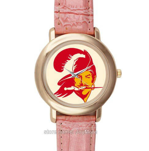 Pink leather strap ladies watch with NFL Tampa Bay Buccaneers image for fans by JoyMore at Amazon.com