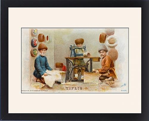 Framed Print Of Hatmakers From Georgia Using A Singer Sewing Machine