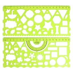 2 Pcs Clear Green Plastic Hollow Students Geometric Template Student Ruler Set