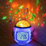 Lilys Home Starry Night Projector and Sound Shooter. With 6 Lullabies and 4 Nature Sounds. Large LCD Alarm Clock