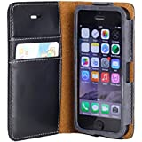 iPhone SE case, ACEABOVE iPhone SE Wallet Case [Black] - Premium Genuine Leather Flip Cover and Card Slots for Apple iPhone SE 2016