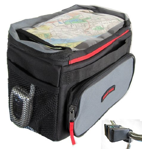 Front Bicycle Handlebar Bag Quick Release with Rain cover Map holder, Max Carry On Weight Limit:12 LB by Biria