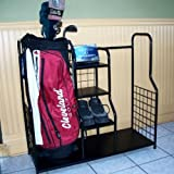 Black Steel Golf Bag Organizer Storage Rack with Shelves