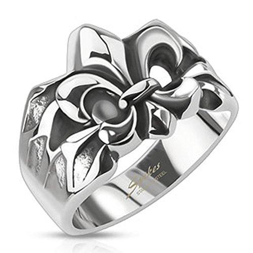 STR-0241 Stainless Steel Crashed Fleur De Lis Cast Ring (10) (Men Fleur De Lis Ring compare prices)