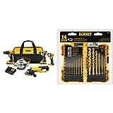DEWALT DCK521D2 20V MAX Compact 5-Tool Combo Kit with DW1354 14-Piece Titanium Drill Bit Set