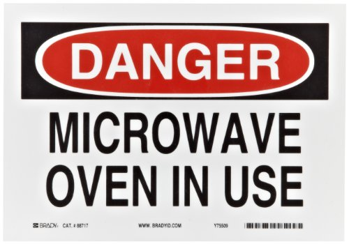 """Brady 88717 10"""" Width X 7"""" Height B-302 Polyester, Black And Red On White Radiation And Laser Sign, Header """"Danger"""", Legend """"Microwave Oven In Use"""""""