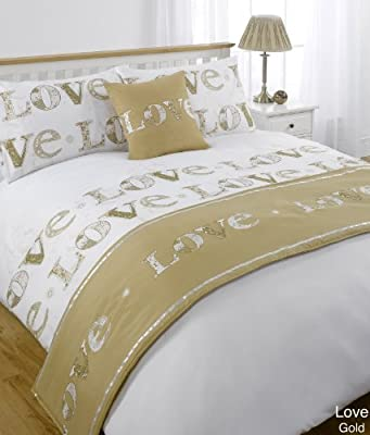 Love Gold King Size 5pc Bed In A Bag Duvet Cover Bedding Set: 1 x Duvet Cover, 2 x Pillowcases, 1 x Cushion Cover, 1 x Quilted Bed Runner