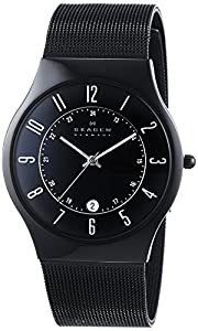 Skagen Men's 233XLTMB Grenen Quartz 3 Hand Date Titanium Black Watch