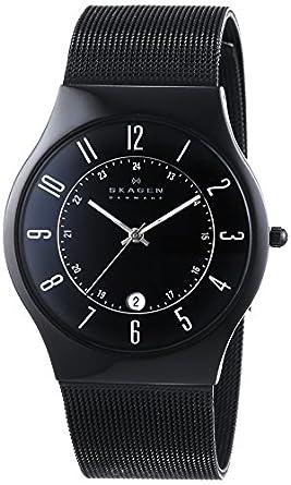 Skagen Men's 233XLTMB Grenen Quartz 3 Hand Date Titanium Black Watch