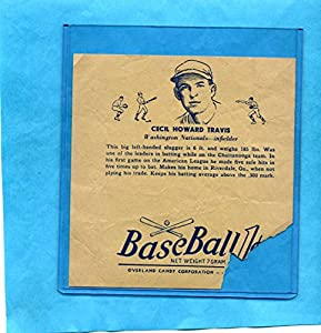 Buy 1938 R301 Overland Candy Baseball Wrapper Cecil Travis by Dan's Vintage Cards