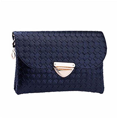 Longra Donne Weave modello Portafoglio spalla borsa Messenger Bag (Nero)