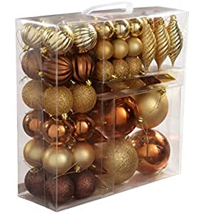 Werchristmas 75 Piece Deluxe Variety Christmas Tree: brown and gold christmas tree