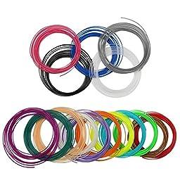 Megadream 1.75mm 12 Random Color Pack of PLA 3D Pen Filament Refills for Art, Design and Industrial- 32 Feet Per Color