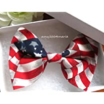 Women Girls Patriotic Red White Blue USA Flag HAIR BOW
