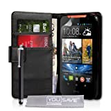 Yousave Accessories HTC Desire 310 Case Black PU Leather Wallet Cover With Stylus Pen