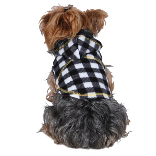 Black and White Checked Fleece Hoodie Dog Pet Jacket [FOR SMALL DOGS],...