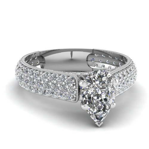 Fascinating Diamonds 2 Ct Pear Shaped Diamond Milgrain Edge Engagement Ring Pave Set Gold Si1 14K Gia