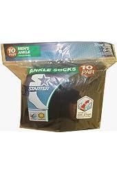 Starter 10 Pairs Men's Black Ankle Socks 6-12
