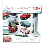 RETRO MORRIS MINOR FINE CHINA MUG AND COASTER SET
