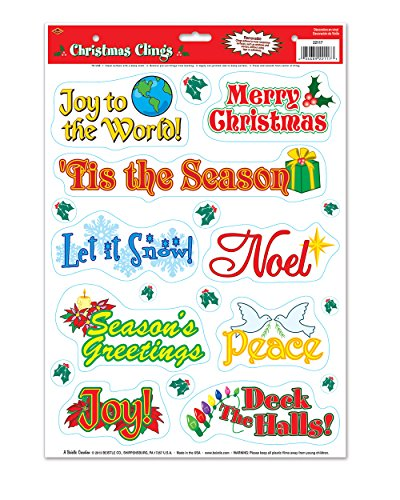 Beistle 22117 Christmas Clings, 12 by 17-Inch