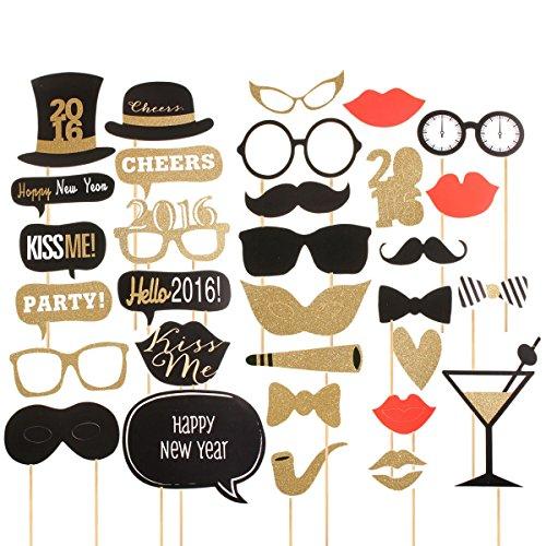 32PCS bricolage Masque d'or photomaton Props Birthday Party Wedding bâton Mustache Favor Décoration