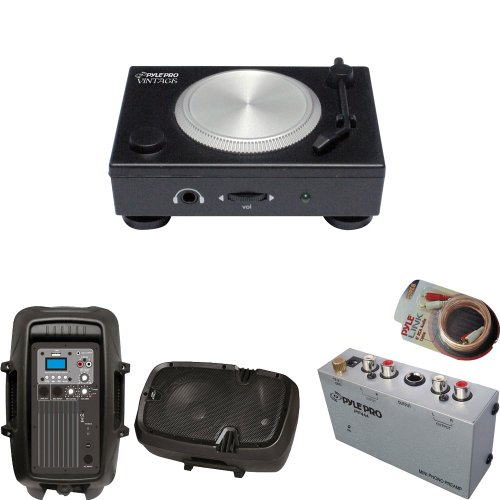 Pyle Turntable Record Player, Pre-Amplifier, Rca Cable And Speaker Package - Padri3 Phono Pre-Amp With Usb/Rca Pc/Mac Audio Converter - Pp444 Ultra Compact Phono Turntable Pre-Amplifier - Pphp803Mu 8'' 600 Watt Powered Two-Way Pa Speaker With Mp3/Usb/3.5M