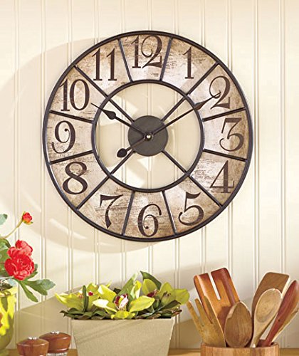 16 Vintage Style Distressed Black Metal and Wooden Clock Wall Hanging Decor Home Accent Rustic Antiqued Finish Design Decoration