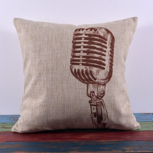 Decho Vintage Classic Brown Microphone Mike Mic Sing Linen Pillow Case Cushion Cover