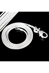 "BAQI 10pcs 925 Silver Plated 20"" 1.2mm Snake Chain Necklace fit European Beads"