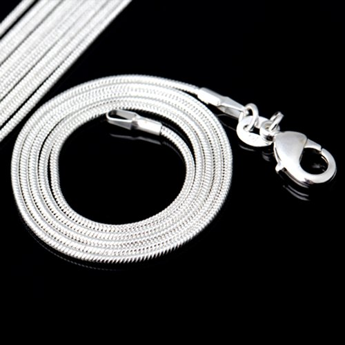 "10Pcs 925 Silver Plated 20"" 1.2Mm Snake Chain Necklace Fit European Beads"