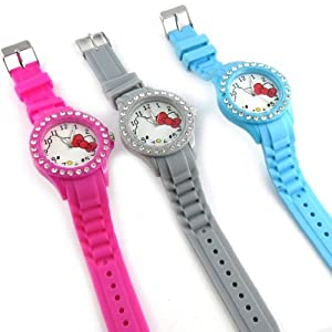 3 designer watches 'Hello Kitty'blue gray pink.