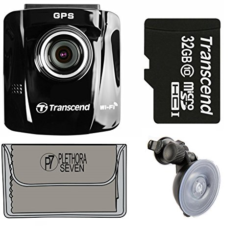 Transcend TS16GDP220M 32GB Drive Pro 220 Dash Cam Car Video Recorder with Suction Mount, Built-In Wi-Fi, and GPS receiver + 16GB SD Card & An Exclusive P7 Cleaning Cloth