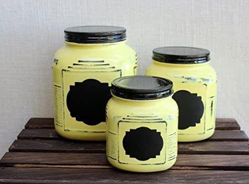 farmhouse yellow kitchen canister set with chalkboard