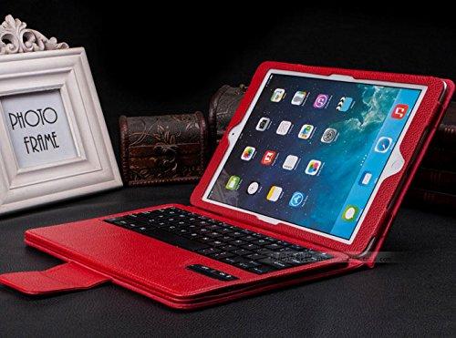 iPad air 2 ケース iPad air 1 ケース bluetooth レザー キーボード/iPad air2 スマートケース iPad air1 スマートケース/IPADAIR2 アイパッド IPADAIR1 アイパッド IPAD 6 ケース  IPAD 5 ケース カバー アイパットケース/[iPad]ノートタイプipad ケース/ipad カバー レザー/ipad ケース ブランド (レッド)