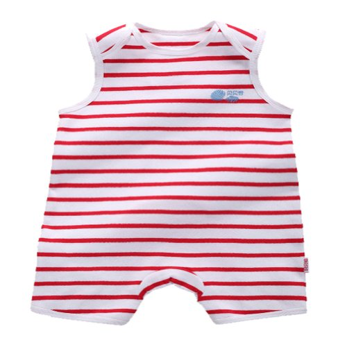 Baby Boys Or Girls Sleeveless Red And White Stripe Gerber Clothes (90 Cm(35.43 Inch)) front-907920