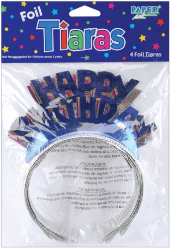 Foil Tiaras 4/Pkg-Happy Birthday Assorted Colors
