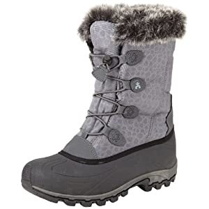A subtle print, faux fur lining, and embossed lacing graphics add femininity to this techy snow boot.