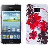 kwmobile Hülle TPU Silikon Case für Samsung Galaxy S2 S2 PLUS mit Blumen-Design - Handy Cover Schutzhülle in Rot Weiß etc.