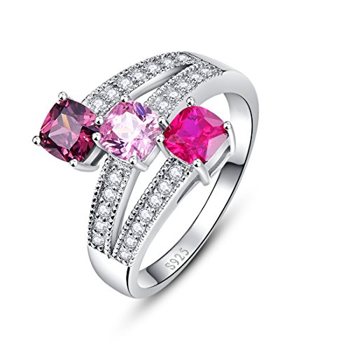 Merthus 925 Sterling Silver 1.5 cttw Created Alexandrite, Ruby, Pink Topaz Ring