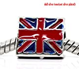 Believe Beads © x1 Silver Tone Plated UK Flag Charm Bead for Pandora/Troll/Chamilia Style Charm Bracelet