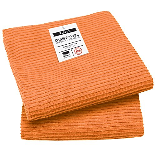 Now Designs Ripple Kitchen Towel Set Of 2 Kumquat Orange Food Beverages Tobacco Food Items