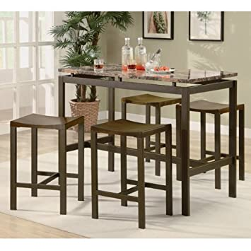 5 Piece Counter Height Kitchen Furniture Casual Dining Set in Brown. Set Includes Table and Four Complementing Contemporary Backless Stools. This 5 Piece Set Will Look Great in Your Recreation Room Also!