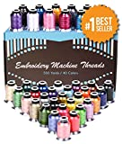 Polyester Embroidery Thread - 40 Variety Spools, Beautiful Shiny Colors Perfectly Match to Brother Machines. 550 Yard Thread Is Heavy Duty and Maintains Their Quality After Many Trips to the Washer and Dryer