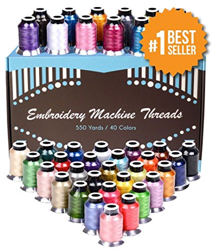 Polyester Embroidery Thread - 40 Variety Spools, Beautiful Shiny Colors Perfectly Match To Brother Machines. 550 Yard Thread Is Heavy Duty And Maintains Their Quality After Many Trips To The Washer And Dryer. 100% Lifetime Money-Back Guarantee. front-87421