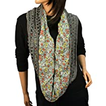 Winter Knit & Fabric Floral Fishnet Net Loop Circle Chain Infinity Scarf Gray