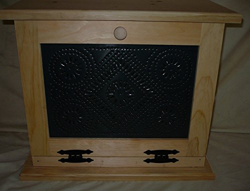 Handcrafted Wooden Bread Box with Punched Tin Decorated Front Door